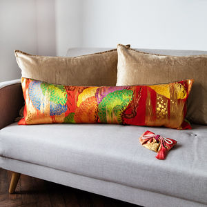 Long Red Pine Kimono Cushion - patterned cushions