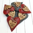 3rd Wedding Anniversary Leather Heart With Oak Message