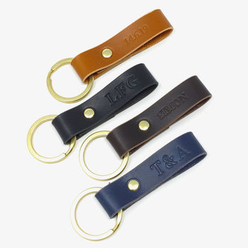 Personalised Leather Keyring by Leather & Thread