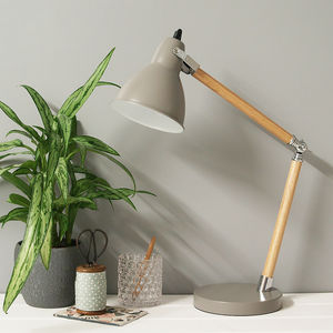 Grey Enamel And Wooden Desk Lamp - lighting