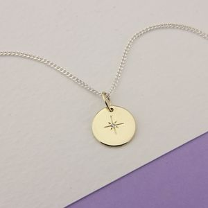 North Star 9ct Gold Disc With Diamond