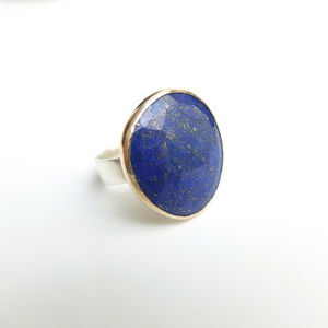 Lapis Lazuli Gemstone Ring Set In 9ct Gold And Silver