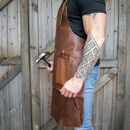 Personalised Double Pocket Full Grain Leather Apron
