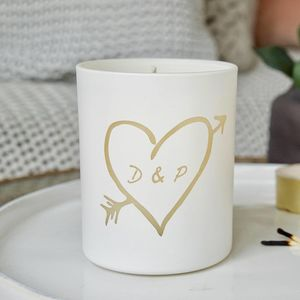 Glow Through Carved Heart Personalised Candle