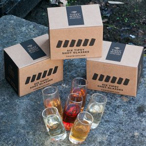 Six Wonky Tipsy Wight® Shot Glasses - drink & barware