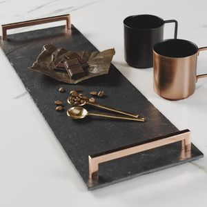 Slate Serving Tray With Copper Handles