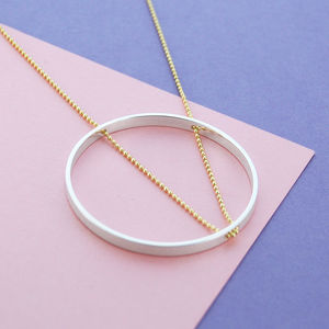 Circle Geometric Long Chain Gold And Silver Necklace