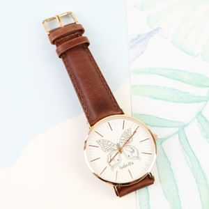 Personalised Engraved Butterfly Watch