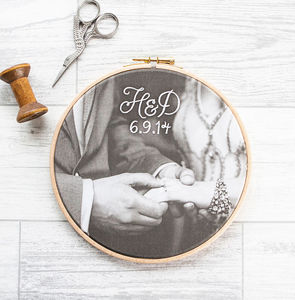 Bespoke Cotton Embroidered Photo Hoop - personalised wedding gifts