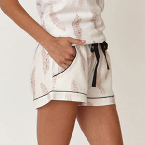 Feather Print Cotton Classic Shorts - lingerie & nightwear