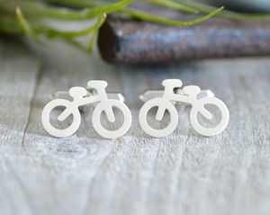 Bicycle Cufflinks In Sterling Silver