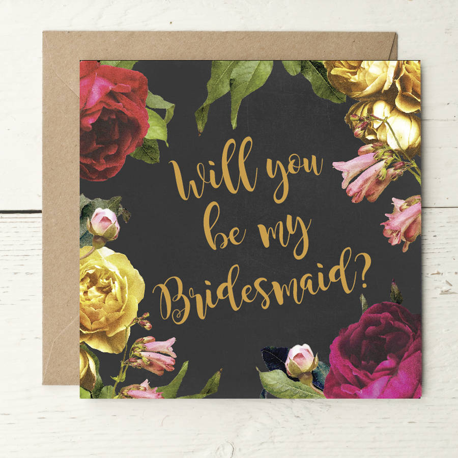Vintage roses bridesmaid invitation card by peach wolfe paper co vintage roses bridesmaid invitation card stopboris Choice Image