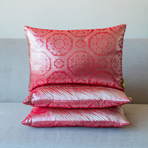 Red Pink Silver Brocade Deco Cushion - living room
