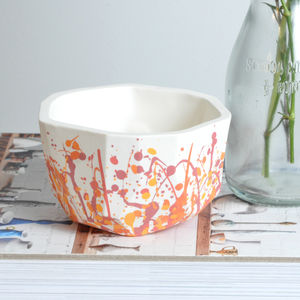 Handmade Round Splatter Porcelain Planter - living room