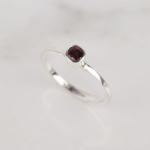 Silver Gemstone Birthstone Stacking Ring - january birthstone