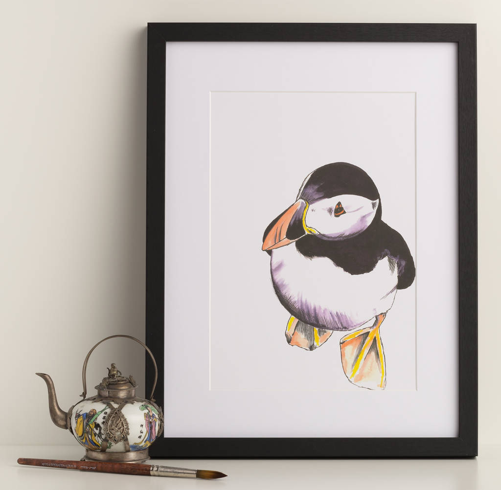 Cute Puffin Illustrated Art Print