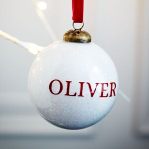 Glitter White Glass Personalised Bauble