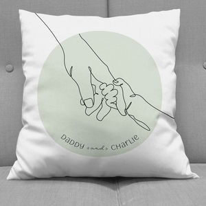 Daddy And Child Holding Hands Cushion