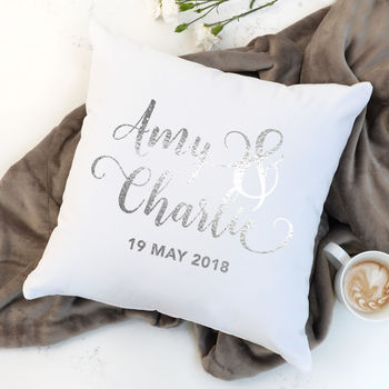 Personalised Couple's Metallic Silver And White Cushion