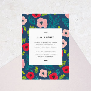 Poppy Pattern Wedding Invites