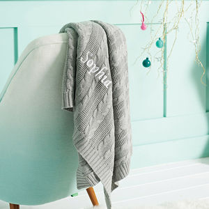Personalised Cable Knit Blanket Grey - christening gifts