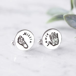 Personalised Round Hand And Foot Print Cufflinks - men's accessories