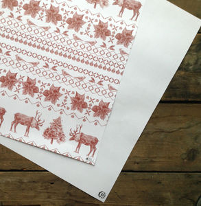 Recycled Christmas Reindeer Wrapping Paper - winter sale