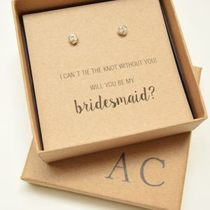 'I can`t tie the knot' Bridesmaid Silver Earring Gift