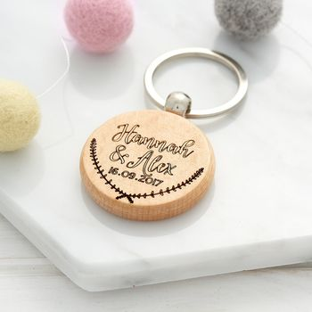 Personalised Couples Laurel Keyring