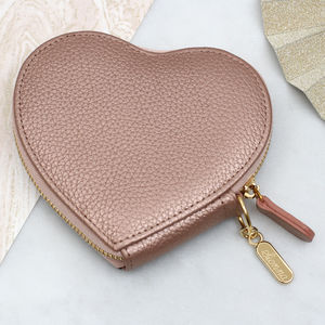 Personalised Luxury Rose Gold Leather Heart Purse