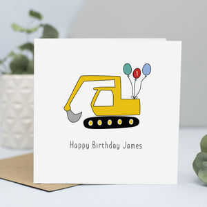Digger Birthday Card With Name And Age