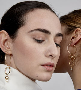 Melanie Mismatched Gold And Pearl Hoop Earrings