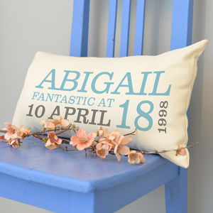 Personalised 18th Birthday Rectangular Cushion - birthday gifts