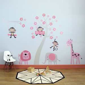 Cute Animals And Tree Wall Stickers