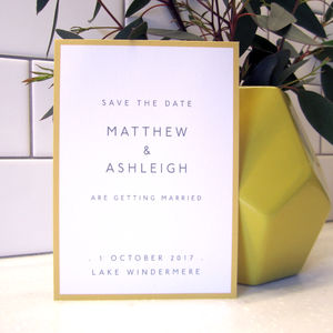 Simple Colour Border Save The Date Card - invitations