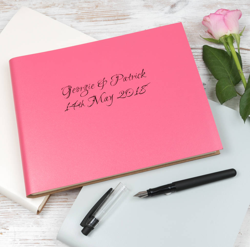 Personalised Love Heart Leather Wedding Guest Book