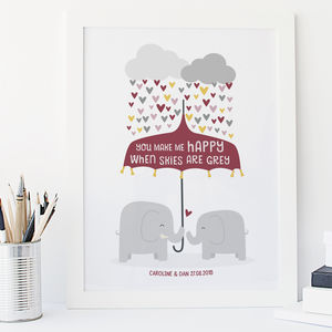 'You Make Me Happy' Elephant Love Anniversary Print