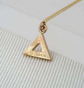 Geometric Triangle Gold Pendant