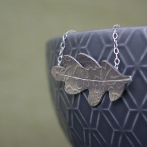 Sterling Silver Watercolour Oak Leaf Necklace