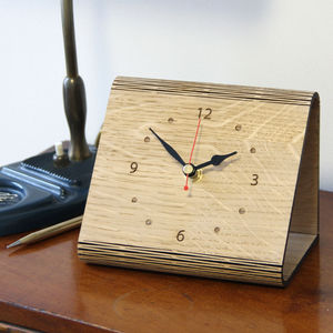 Personalised 'Living Hinge' Oak Clock - children's room accessories