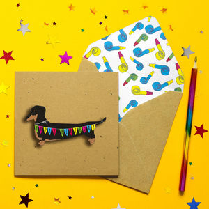 Birthday Bunting Dachshund 3D Personalised Card