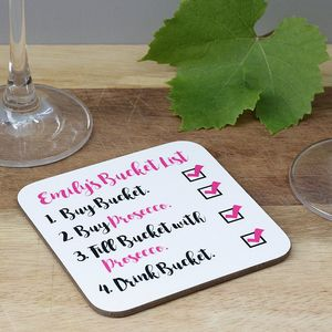 Personalised Prosecco Bucket List Coaster