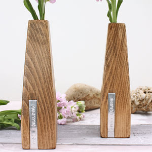Two Personalised Wooden Vases - 5th anniversary: wood