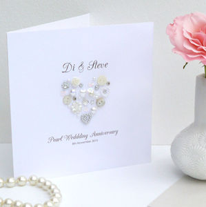 Personalised Button Wedding Anniversary Card