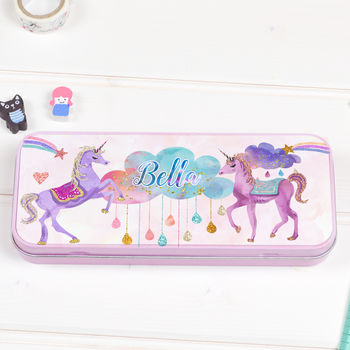 Personalised Pencil Tin Case 'Unicorn'
