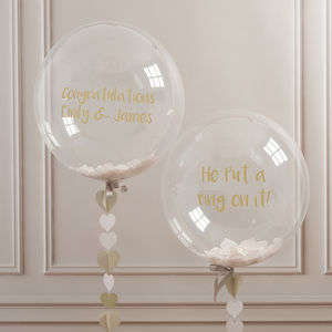 Personalised Engagement Confetti Bubble Balloon - engagement gifts