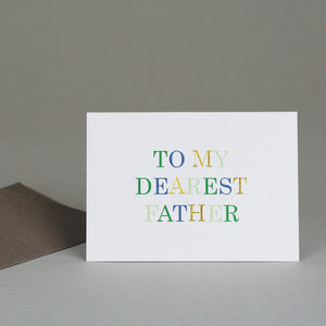 'To My Dearest Father' Card - summer sale