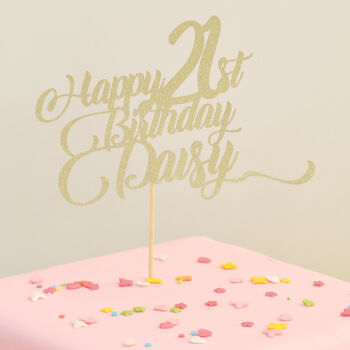 Personalised Birthday Glitter Cake Topper