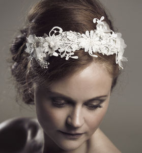 Demetria Lace Fauna Beaded Headband - bridal hairpieces