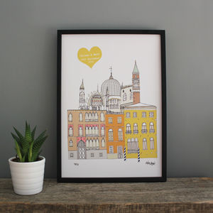Venice Personalised Wedding Print - posters & prints